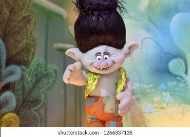 GOLD COAST - DEC 19 2018:Troll character entertainment figure in Dreamworld, Gold Coast, Queensland, Australia.Trolls film grossed worldwide total of $346.8 million, against a budget of $125 million.