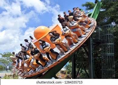 GOLD COAST - JAN 10 2019:Shockwave attraction ride in Dreamworld a theme park and zoo situated on the Gold Coast in Queensland. It is Australia's largest theme park with over 40 rides and attractions.