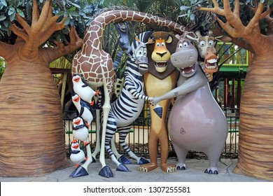 GOLD COAST - JAN 29 2019:Madagascar film characters at Dreamworld, Gold Coast, Australia. The film grossed over $603 million worldwide.