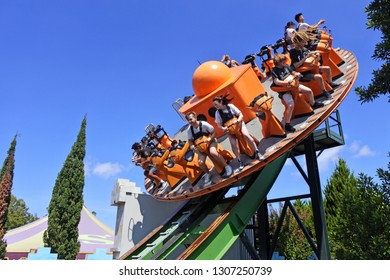 GOLD COAST- JAN 29 2019:People ride on  Shockwave ride in Dreamworld, Gold Coast, Australia. It circles at 12 revolutions per minute at up to 2.5Gs