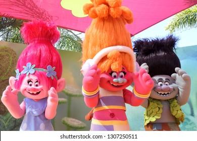 GOLD COAST- JAN 29 2019:Troll Characters - Poppy, DJ Suki and  Branch perform a dance party at Dreamworld, Gold Coast, Australia