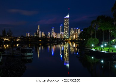 Gold Coast lights at night reflecting in the water