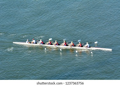 GOLD COAST - NOV 22 2018:Aerial view of Australian rowers in a coxed eight (8+), a sweep rowing boat, In Surfers Paradise Gold Coast, Queensland Australia.