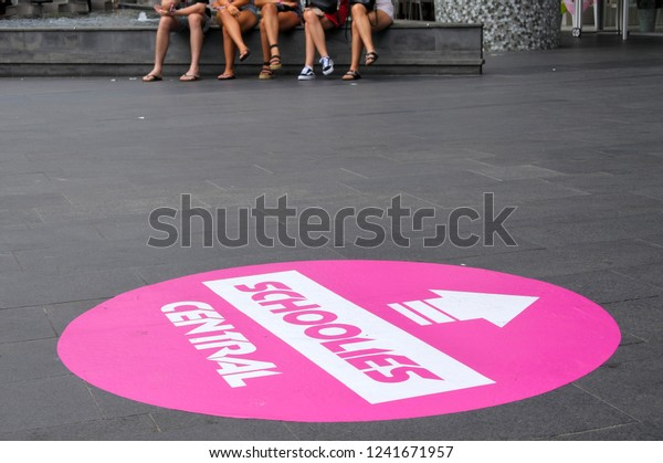 GOLD COAST - NOV 27 2018:Australians High-school graduate in Cavill Mall during Schoolies week following final exams for private single-sex schools in Surfers Paradise Queensland, Australia.