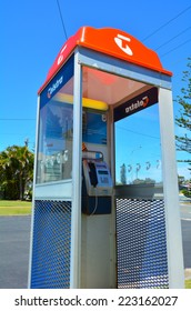 GOLD COAST - OCT 10 2014:Telstra telephone booth.Australia's largest telecommunications and media company Telstra announces that her forgotten pay phone booths will be repurposed as Wi-Fi hot spots.