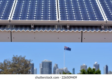 GOLD COAST- OCT 23 2014:Solar panels in Gold Coast, Australia. Solar power in Australia is a relatively recent phenomenon. Currently, it has over 3.2 GW of installed photovoltaic (PV) power in 2014.