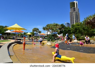 GOLD COAST- OCT 23 2014:Visitors in Broadwater Parklands in Gold Coast Queensland, Australia.The Rockpools is a popular free open water playground for family and children of all ages to enjoy.