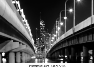 Gold Coast Q1 building with bokeh lights from the Sundale bridge in Black & White
