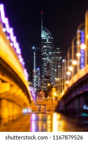 Gold Coast Q1 building with bokeh lights from the Sundale bridge