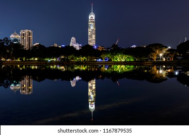 Gold Coast Q1 and Surfers Paradise cityscape reflection, view from Evandale Park