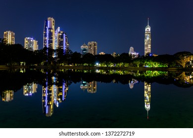 Gold Coast Q1 and Surfers Paradise city scape, on a clear night sky with reflections on the waterfront