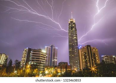 Gold Coast, QLD / Australia - 11 06 2017: Lightning storm on the Gold Coast, Q1 Tower