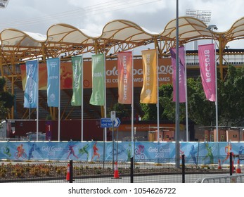 Gold Coast, QLD, Australia-03 21 2018: Outside the main stadium for the 2018 commonwealth games