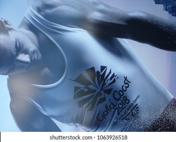 Gold coast, QLD/Australia - 04 08 2018: Images of Gymnasts that appear on the outside of the Coomera sports centre as it hosted the Gymnastics competition for the 2018 Commonwealth games 2018