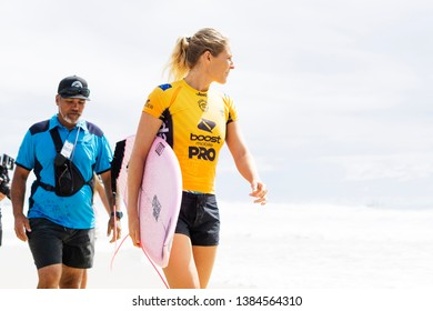 Gold Coast, Queensland / Australia - April 10th 2019: The Boost Mobile Quiksilver Pro 2019 at Snapper Rocks and Dbah.