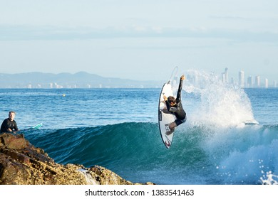 Gold Coast, Queensland / Australia - July 9th 2019: The Boost Quiksilver Pro 2019 at Snapper Rocks and Duranbah, Gold Coast.