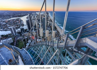 Gold Coast, Queensland / Australia - July 01 2017: Gold Coast skyline photographed from the top of Q1 outside on the sky walk with other photographers at Skypoint
