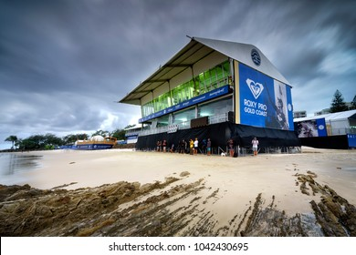 Gold Coast, Queensland / Australia March 10th 2018. The trials of the Quiksilver Pro surfing competition at Snapper Rocks.