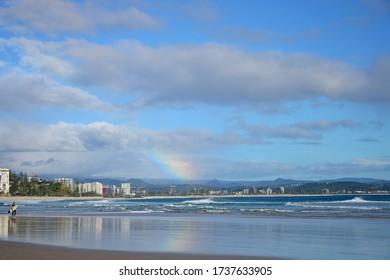 Gold Coast, Queensland, Australia, May 2020. Rainbow at the beach