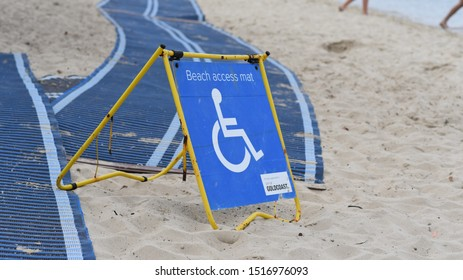 Gold Coast, Queensland / Australia - September 24 2019: Wheelchair access to the beach via mat.
