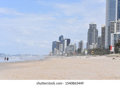 Gold Coast, Queensland / Australia - September 24 2019: An image of Surfers paradise skyline from the beach
