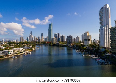 Gold Coast, Queensland/Australia - 12 january 2018: Aerial drone view over a Gold Coast Canal looking toards Surfers Paradise and the Isle of Capri on the Gold Coast.