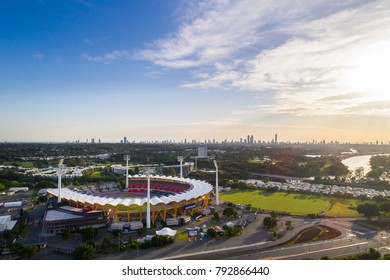 Gold Coast, Queensland/Australia - 14 january 2018: Aerial drone image of Metricon Stadium on Australia's Gold Coast.