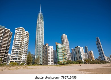 Gold Coast, Queensland/Australia - 15 January 2018: Morning views of Surfers Paradise over incoming water on the Gold Coast, Australia.