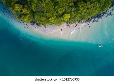 Gold Coast, Queensland/Australia - 28 January 2018: Aerial drone view of a kyaker on Tallebudgera Creek near Burleigh Heads National Park.