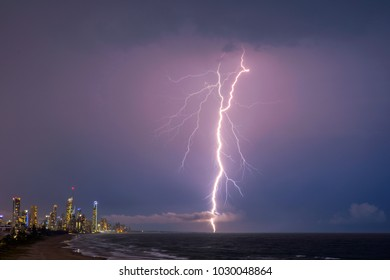 Gold Coast skyline being lit up with lightening bolts