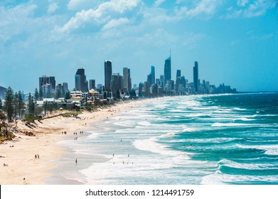 Gold Coast with a Surfers Paradise beach full of tourists seen from above. Queensland, Australia.