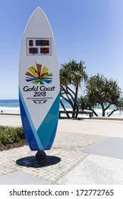 GOLD COAST, SURFERS PARADISE - DECEMBER 7 2013: The 2018 Commonwealth Games countdown clock shaped as a surfboard is four meters tall