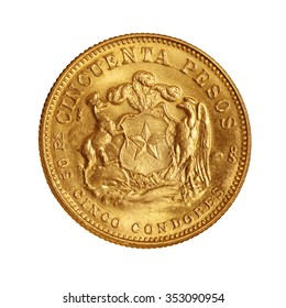gold coin 50 pesos chile