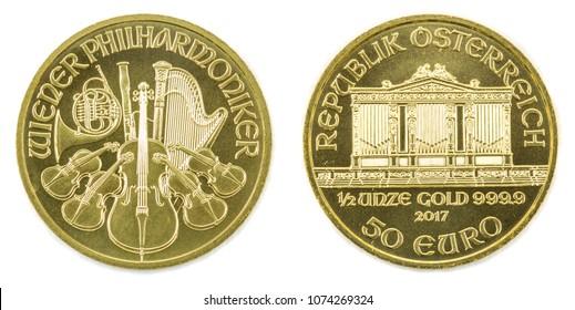 Gold coin Austria 1/2 ounce Vienna Philharmonic. Isolated