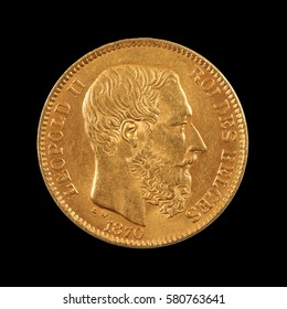 gold coin, belgium, 20 francs shows leopold II