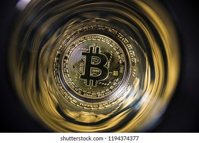 Gold coin Bitcoin on abstract background.. Cryptocurrency.