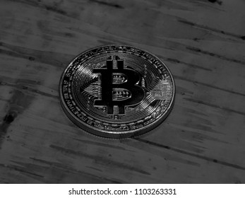 Gold coin bitcoin on a background abstract