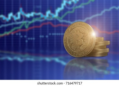 Gold coin Bitcoin on a background of business charts, blue background. The concept of crypto currency. Blockchain technology. Mixed media.