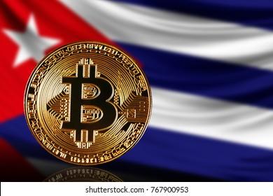 gold coin bitcoin on a background of a flag Cuba