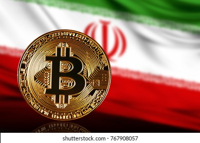 gold coin bitcoin on a background of a flag Iran