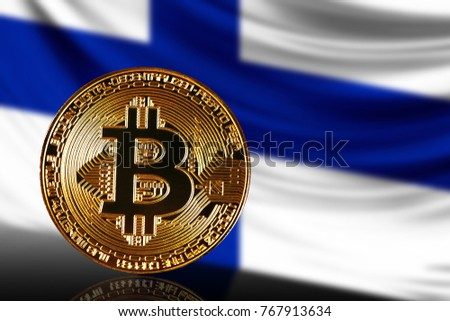 gold coin bitcoin on a background of a flag Finland