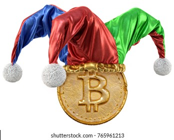 Gold coin with bitcoin sign in jester hat. isolated on white background. 3d illustration.
