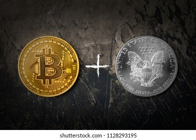 Gold coin Bitcoin and silver dollar with a plus sign. Dark background