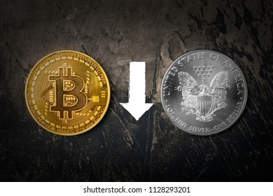 Gold coin Bitcoin and silver dollar with the sign of an arrow down. Dark background