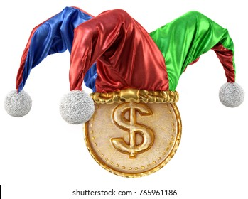 Gold coin with dollar sign in jester hat. isolated on white background. 3d illustration.