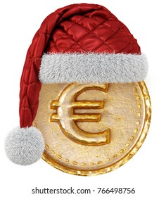Gold coin with dollar sign in Santa Claus red hat. isolated on white background. 3d illustration.