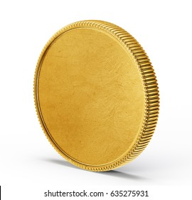 gold coin isolated on a white. 3d illustration