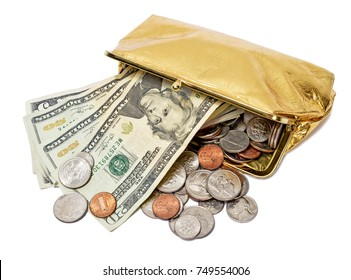 Gold Coin Purse Close Up Full Of Money Isolated on White Background