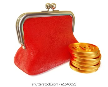 gold coin and red purse on white isolated