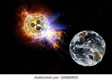 Gold coin of Ripple falls to the ground from space. XRP attack earth. Elements of this image furnished by NASA.